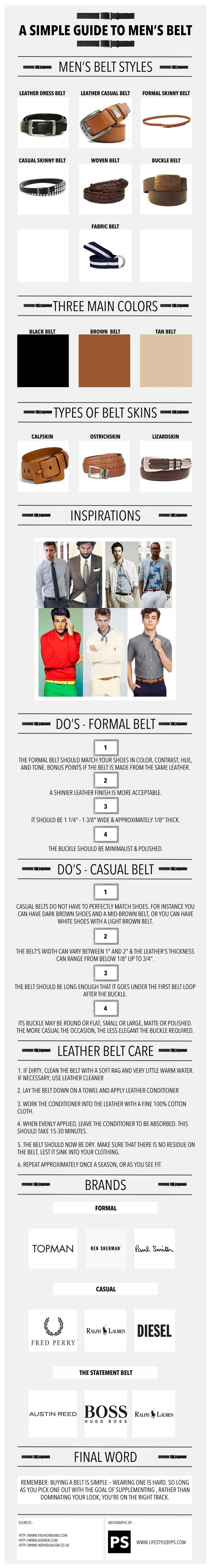A Simple Guide to Men's Belt - Men's belt types - Simple Belt Guide. The Infographic below includes following.  1. Men's belt styles 2. Three main Colors 3. Ty