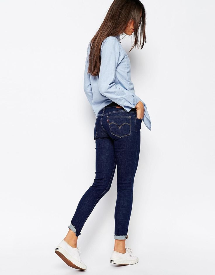 Image 4 of Levi's 711 Skinny Jeans With Raw Hem
