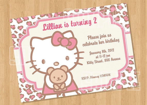 Hello Kitty Leopard Cheetah Birthday Party Invitation by cutiesparties.com $5.00