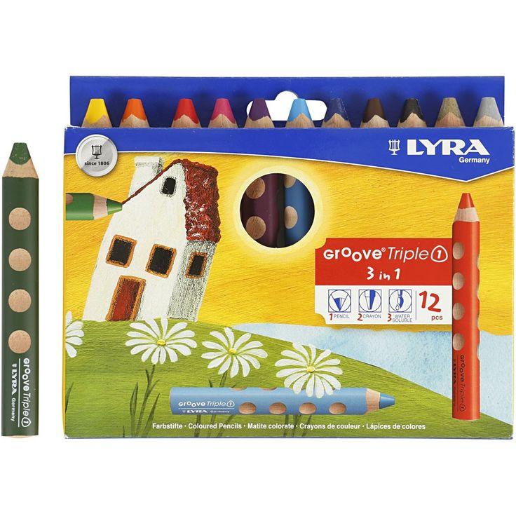 Groove Triple1 färgpennor, kärna: 10 mm, L: 12 cm, mixade färger, 12st.