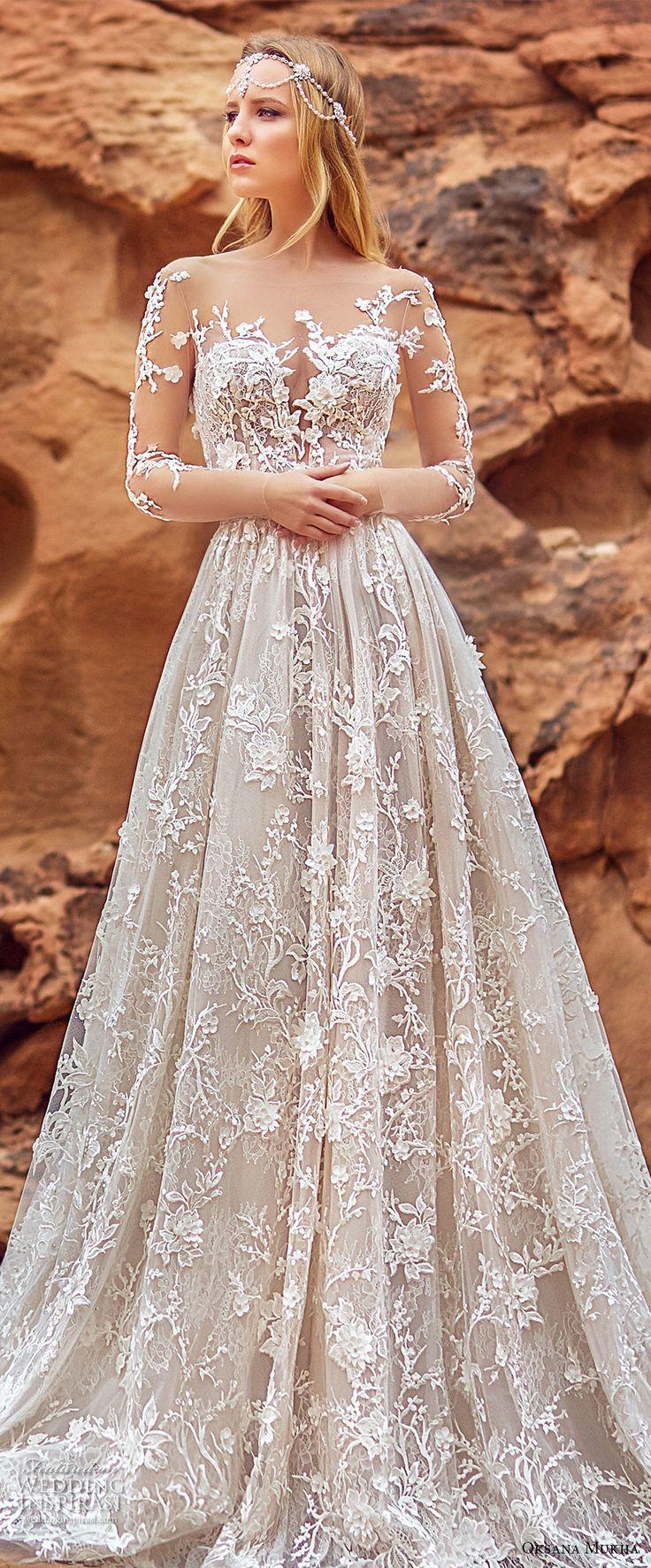 Oksana mukha 2018 bridal mangas de três quartos sweetheart decote emfeite completo princesa uma linha vestido de casamento com bolsos aberto de volta trem real (lilana) zv
