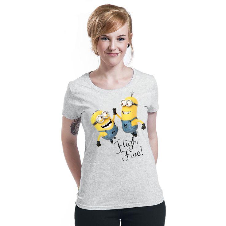 """Maglietta donna """"High Five"""" dei #Minions, i buffi assistenti del protagonista del film Cattivissimo Me, grigia con ampia stampa frontale."""