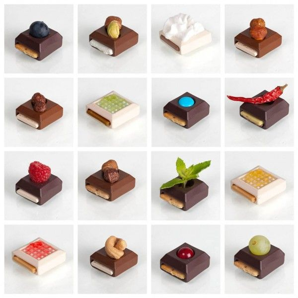 modular gourmet chocolates concept by elsa lambinet. chocolate base + flavor insert + nut/fruit/aromatic topping