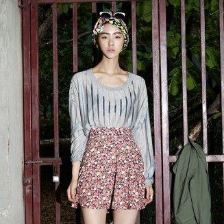 【Bluepops】ストライプシースループルオーバー;小花柄プリントふんわりフレアースカート