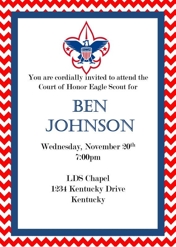 Eagle Scout Court Of Honor Invitation My Etsy Stuff Pinterest
