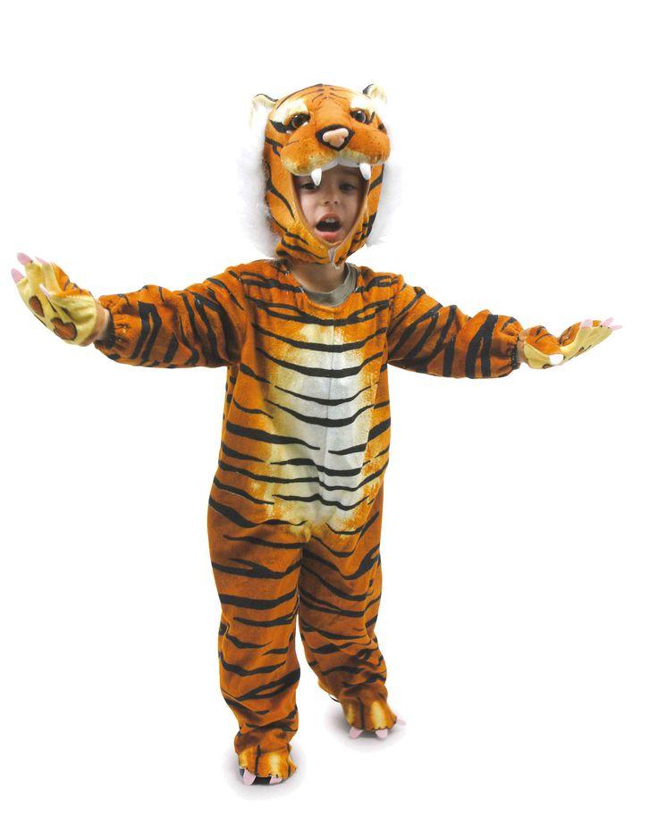 Hier komt de koning van de jungle - neem jezelf in acht! Leuk kostuum van textiel met heel zacht oppervlak in gedetailleerd kleurige dessins!