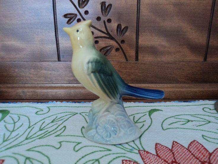 Vtg 1950s Royal Copley Bird Figurine Crested Yellow