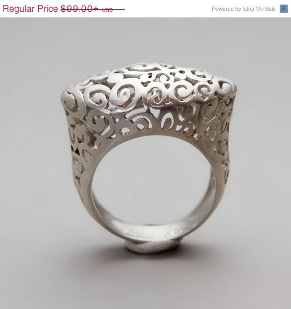 ON SALE 20% OFF Sterling Silver Ring Statement by toolisjewelry