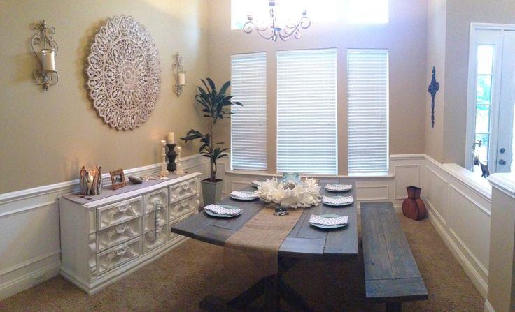 Formal Dining Room. Grey Reclaimed Wood Farm Table