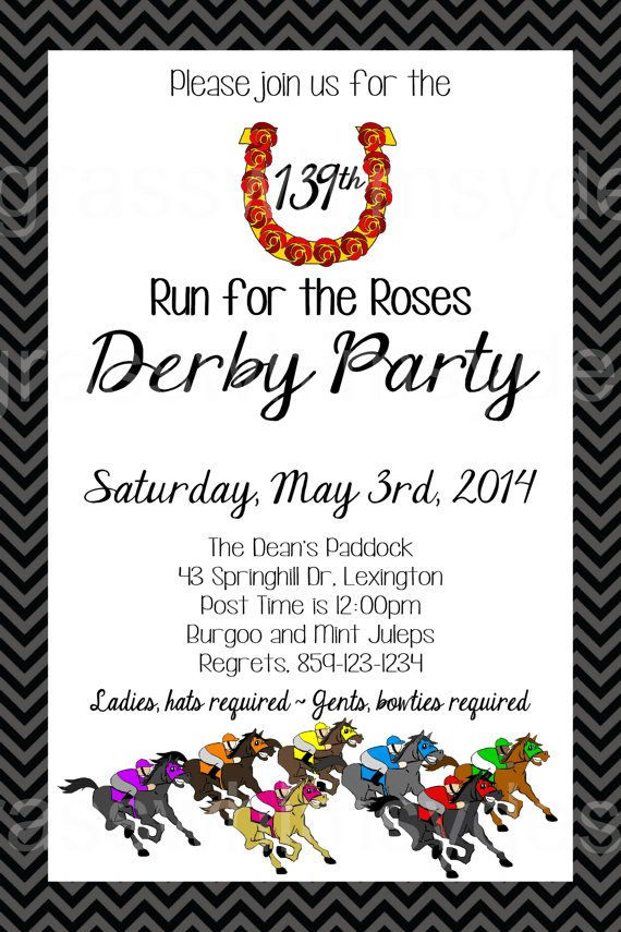 Kentucky Derby Party- 139th Run for the Roses- DIY Printable Invitation by BluegrassWhimsy, $15.00