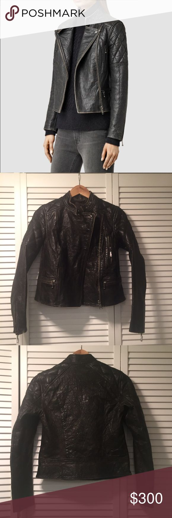 NWT all saints leather jacket Brand new jacket never work. Super luxurious feel. Distressed black leather. Last picture shows part of the distressed look. Very flattering staple leather jacket All Saints Jackets & Coats