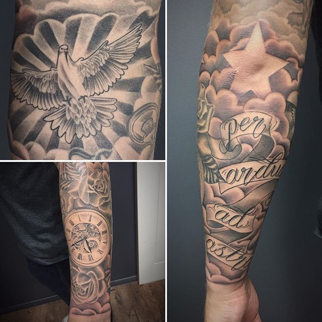 Tattoo Finished Forearm Sleeve Added Cloud Everything Else Healed Pocketwatch Dove Cloud Tattoo Sleeve Tattoos Tattoos For Guys