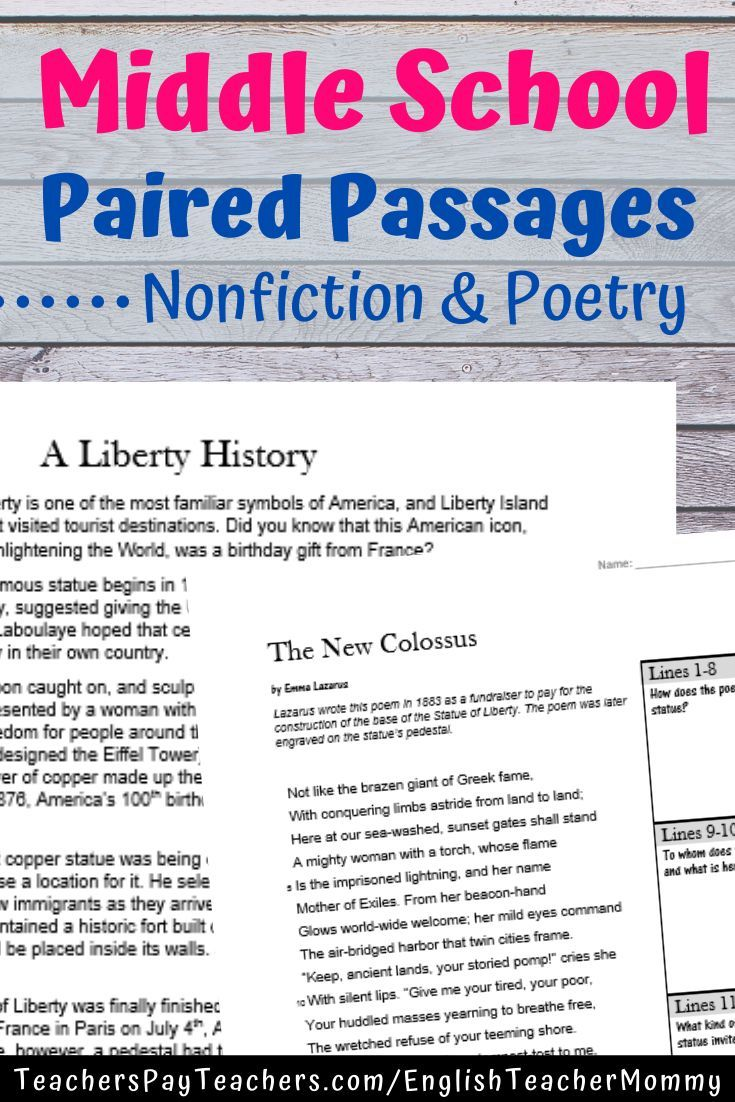 Middle School Poetry Paired Passages Middle School Reading Activities Poetry Middle School Paired Passages [ 1102 x 735 Pixel ]
