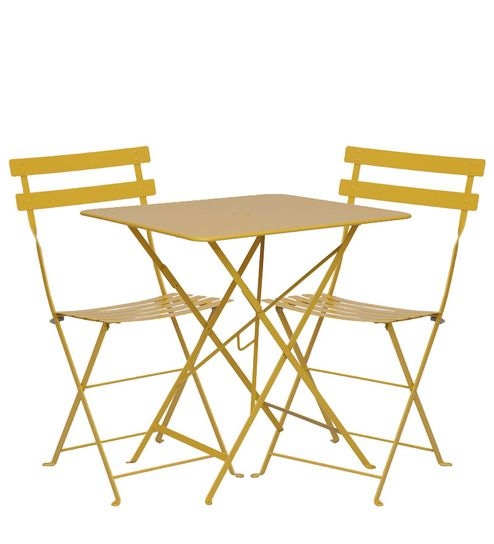 Fermob Bistro set of 2 chairs in Honey colour with Square Table by WorldBazaar
