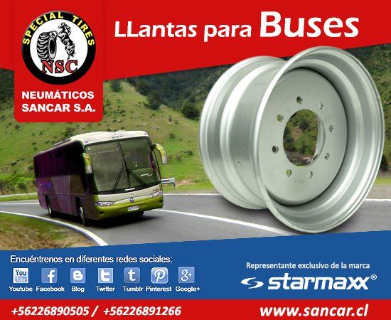 Las mejores llantas para buses  www.sancar.cl Contáctenos y responderemos sus dudas y comentarios a la brevedad