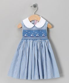 Emily Lacey Blue Smocked Sailboat Dress - Infant, Toddler & Girls   Daily deals for moms, babies and kids