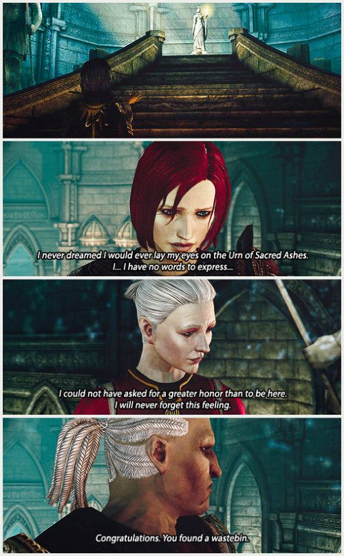 Dragon Age: Origins. Oh Sten, you have such a way with words.