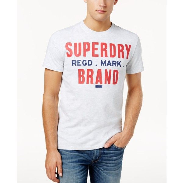 Superdry Men's Brand Logo-Print T-Shirt ($17) ❤ liked on Polyvore featuring men's fashion, men's clothing, men's shirts, men's t-shirts, ice marl, mens cotton t shirts, mens cotton shirts, superdry mens t shirts, mens t shirts and mens patterned shirts