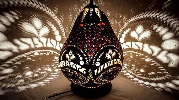 VALENTINE'S SALE Gourd lamp handcrafted Ottoman Turkish