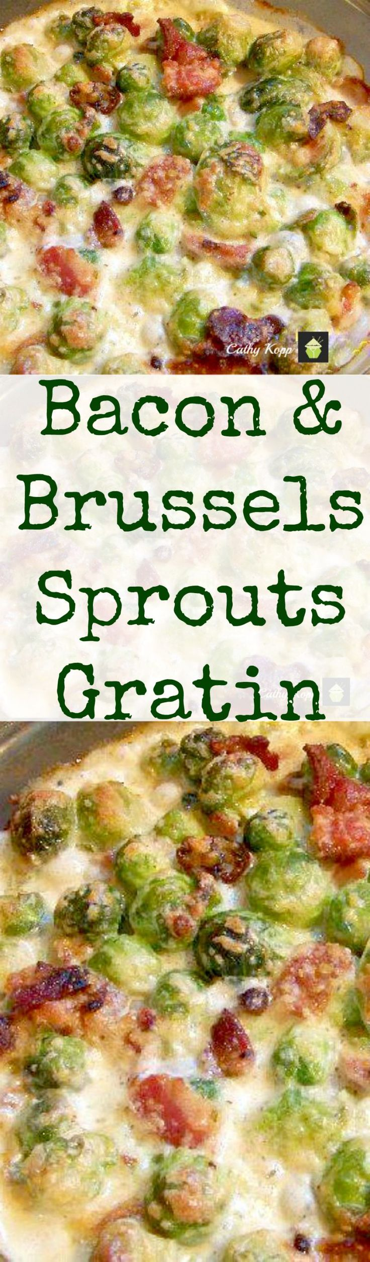 Bacon and Brussels Sprouts Gratin. Bacon, cheese and Brussels Sprouts all baked in a creamy sauce. Sub-pork rinds/Parmesan for bread crumbs