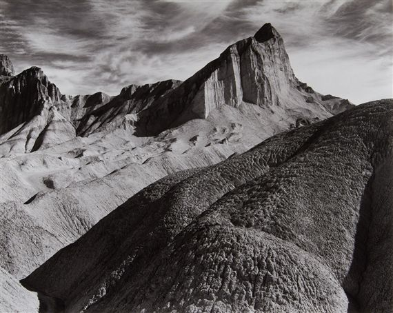Ansel Adams - Manly Beacon, Death Valley National Monument; Medium: Gelatin silver print; Dimensions: 39.5 X 49.4 cm.