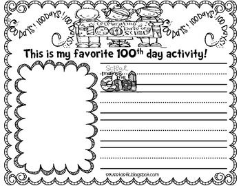 Here's a set of memory book pages and a certificate for the 100th day of school.