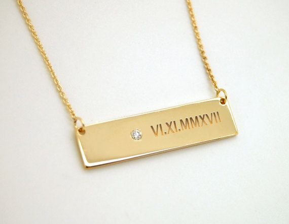 date gold roman engraved necklace jc rose bar wedding numeral design personalized filled rectangle jewelry