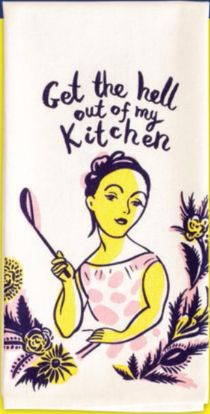 Get the Hell Out of My Kitchen Dish Towel in Pink, Purple and Yellow – The Bullish Store