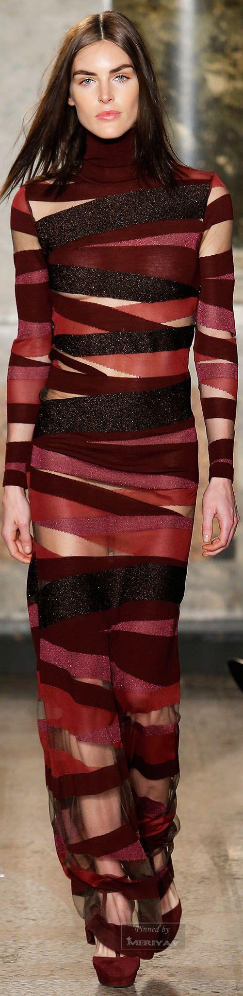 Emilio Pucci ~ Fall Sheer Bandage Maxi Dress, Burgundy+Black  2015.