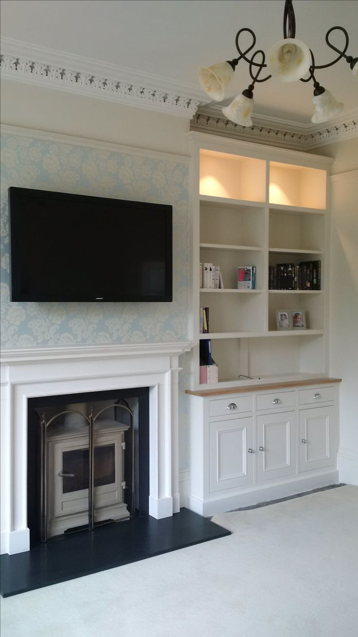 Hand Painted Bespoke Alcove Cabinets With American Oak Dresser Top