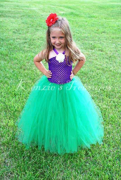 Little Mermaid Tutu Dress With Real Shell Clip And Red