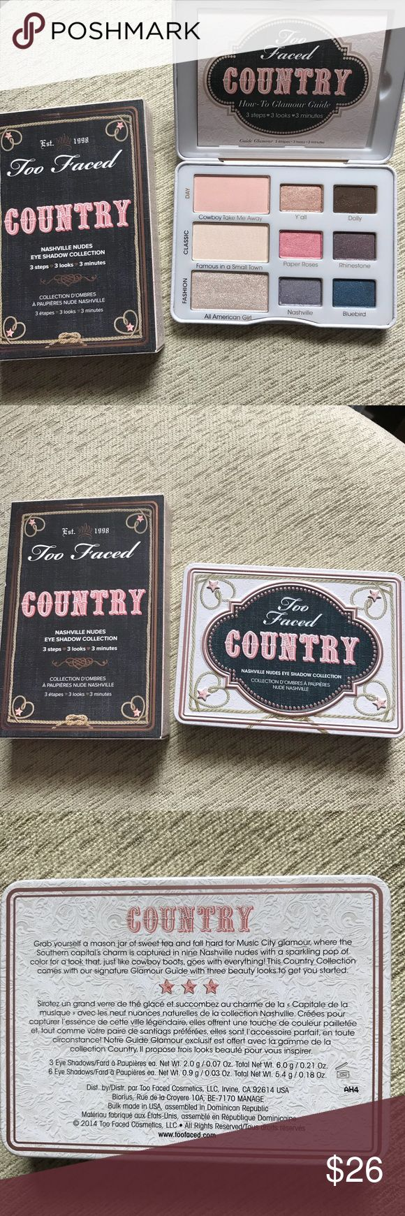 Authentic Too Faced Country palette Lightly swatched authentic Too Faced Country eyeshadow palette. Original packaging included along with a guide for a few looks. Only looking to sell no trades. Happy Poshing! Too Faced Makeup Eyeshadow