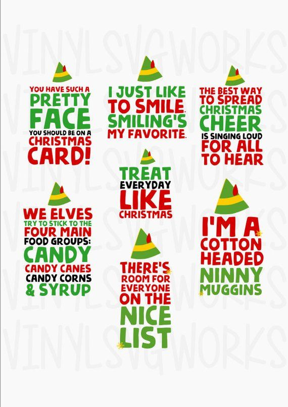Elf Movie Quotes Svg File Pack Etsy Elf Movie Quotes Elf Themed Christmas Party Christmas Movie Quotes