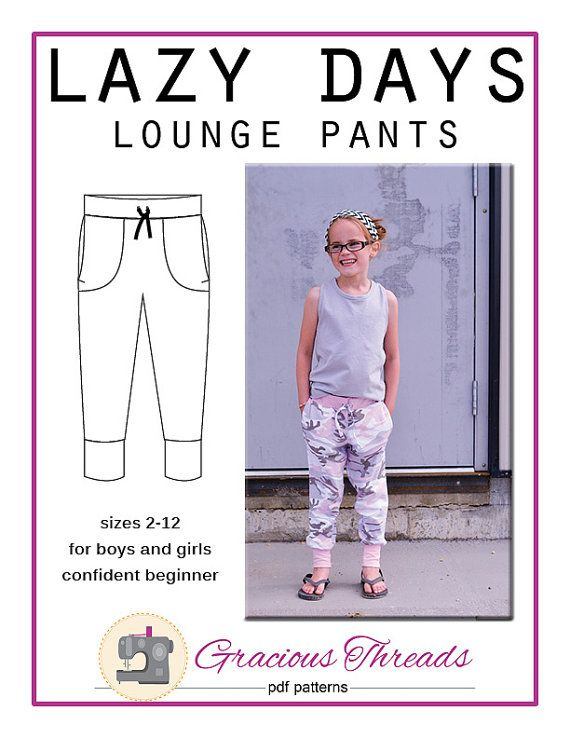 The Lazy Days Lounge Pants are a relaxed fit, unisex design. They feature inseam pockets, cuffs, and a faux drawstring. The pattern covers a
