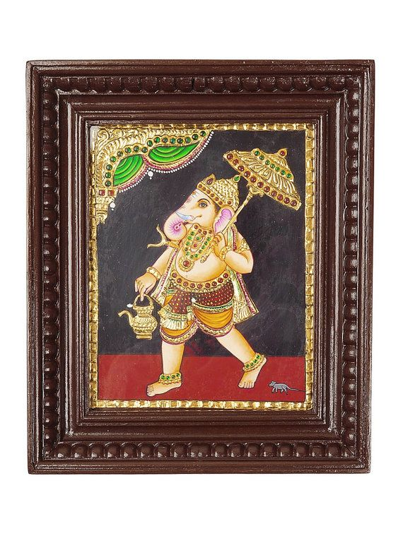 Walking Ganesha Tanjore Painting Framed Art by MidastouchNK