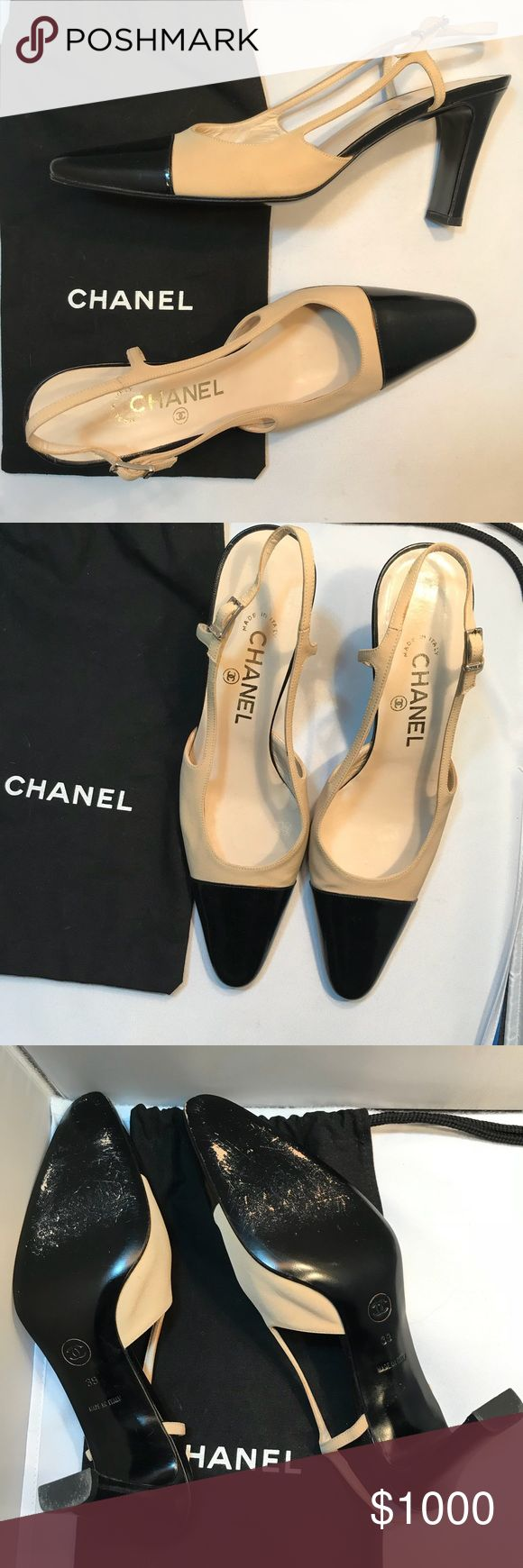 Classic Chanel Pumps 39 leather sole tan/black Excellent condition   Only worn two times   Classic look ... the color block elongates the leg ... super flattering shoe  Sorry, I did not keep the box CHANEL Shoes