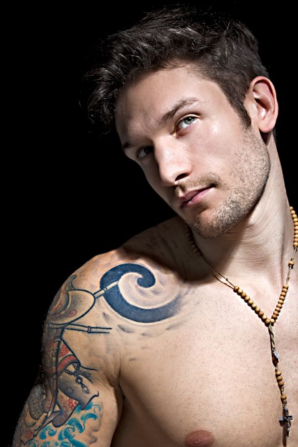 Chubby shemale with chest tattoo