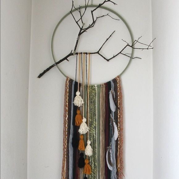 handmade one of a kind boho yarn wall hanging dream catcher style wall hanging carefully