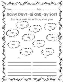 Rainy Days -ai and -ay Word Sort