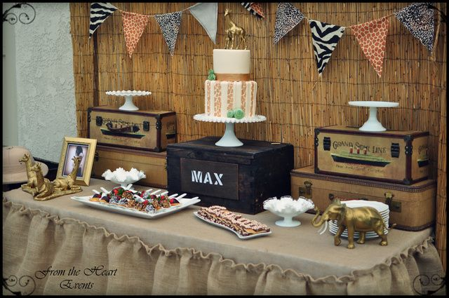 Lovely dessert table at a Jungle Safari Party.  See more party ideas at CatchMyParty.com.  #junglepartyideas