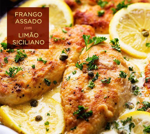Receita deliciosa para um almoço ou jantar leve: frango assado com limão siciliano ( Receita: Dedo de Moça )