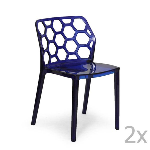 Sada 2 modrých židlí Garageeight Honeycomb