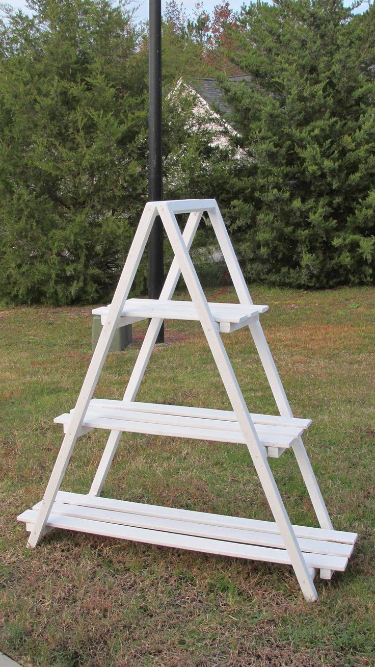 Wooden a frame plant stand rustic ladder quilt ladder - Ladder plant stand plans ...