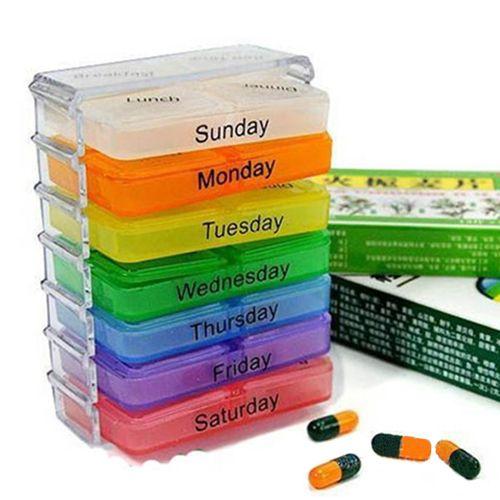 Красочные таблетки медицина хранения 7 дн. планшет сортировщик Box контейнер чехол организатор здравоохранения шикарный дизайн 5GK4 купить на AliExpress