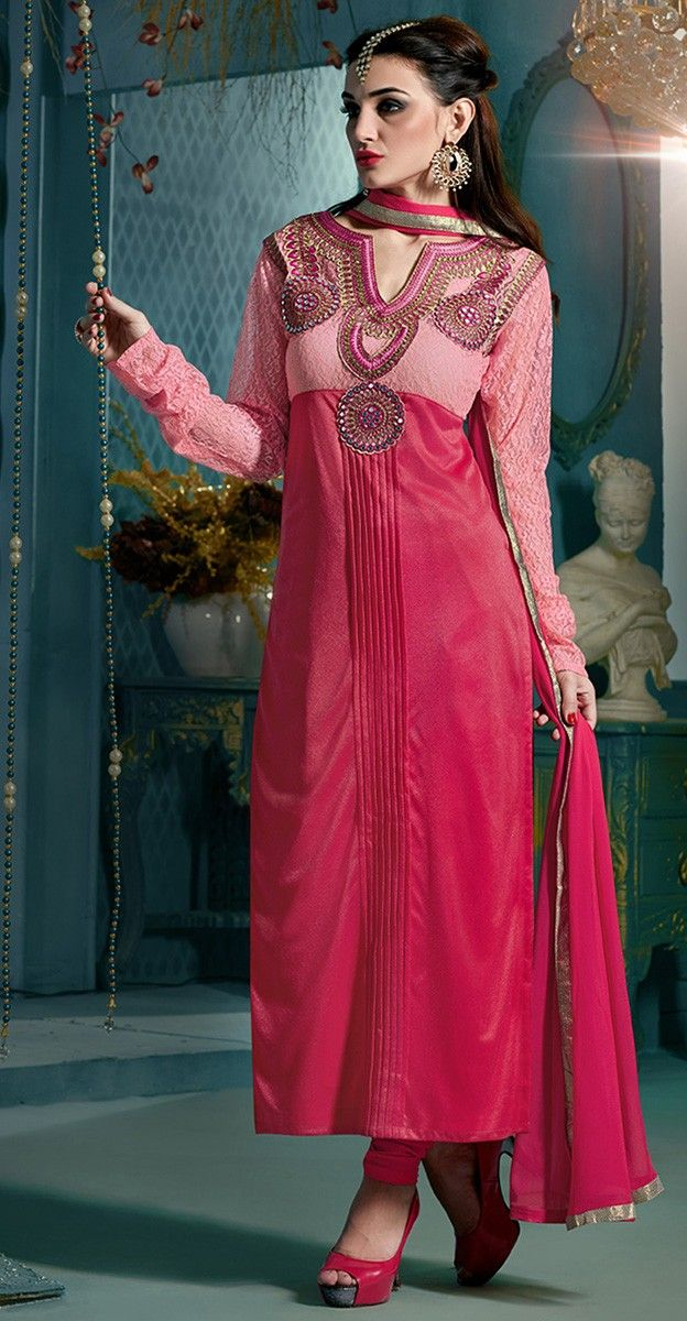 Nylon & Lycra Patch Work Pink & Beige Semi Stitched Straight Suit - 923
