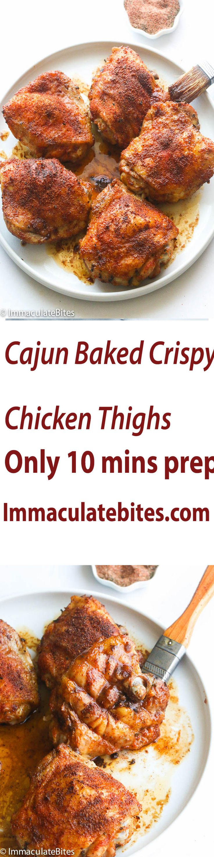 Baked Crispy Chicken Thighs- you won't believe they are baked ! Super easy to make. Dinner is ready in less than no time