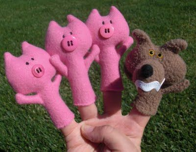 Make finger puppets to help tell your favorite stories!  This tutorial teaches you how to make the three little pigs and the big bad wolf.  She sews them but felt and glue would work great too.