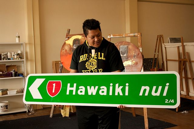 """Margaret Aull with """"Seek Utopia - The Way Home (series), Hawaiki nui: 2/4"""" by Colour Me Fiji, via Flickr"""