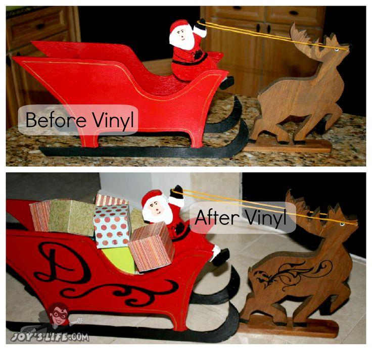 Santa's Sleigh Cricut Vinyl Makeover