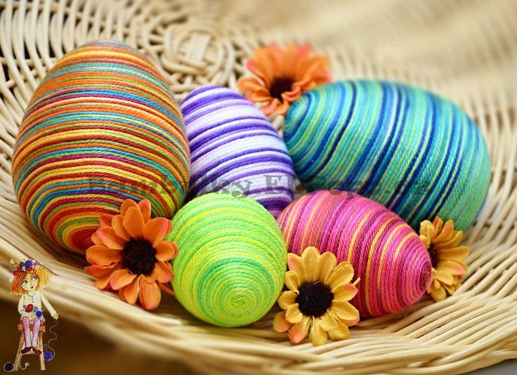 Yarn + Polystyrene = Easter Eggs :-)